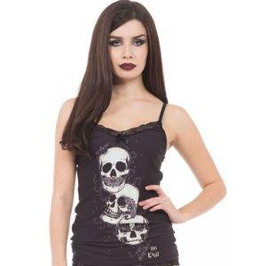 NWT Jawbreaker Skeleton No Evil Lace Back Camisole